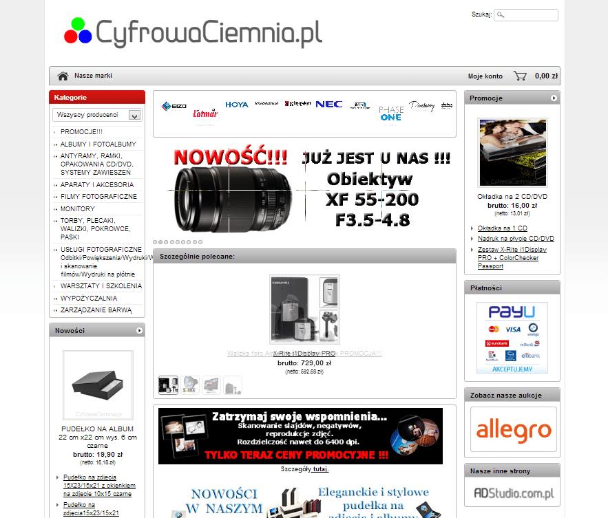 projekt strony internetowej cyfrowaciemnia.pl
