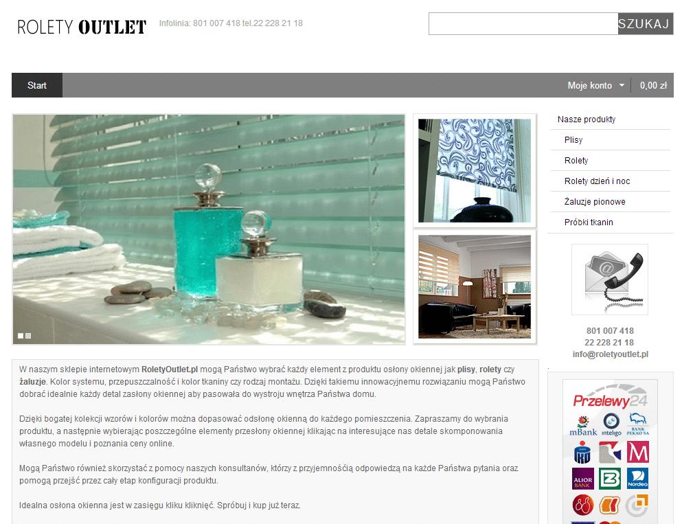projekt strony intenetowej roletyoutlet.pl