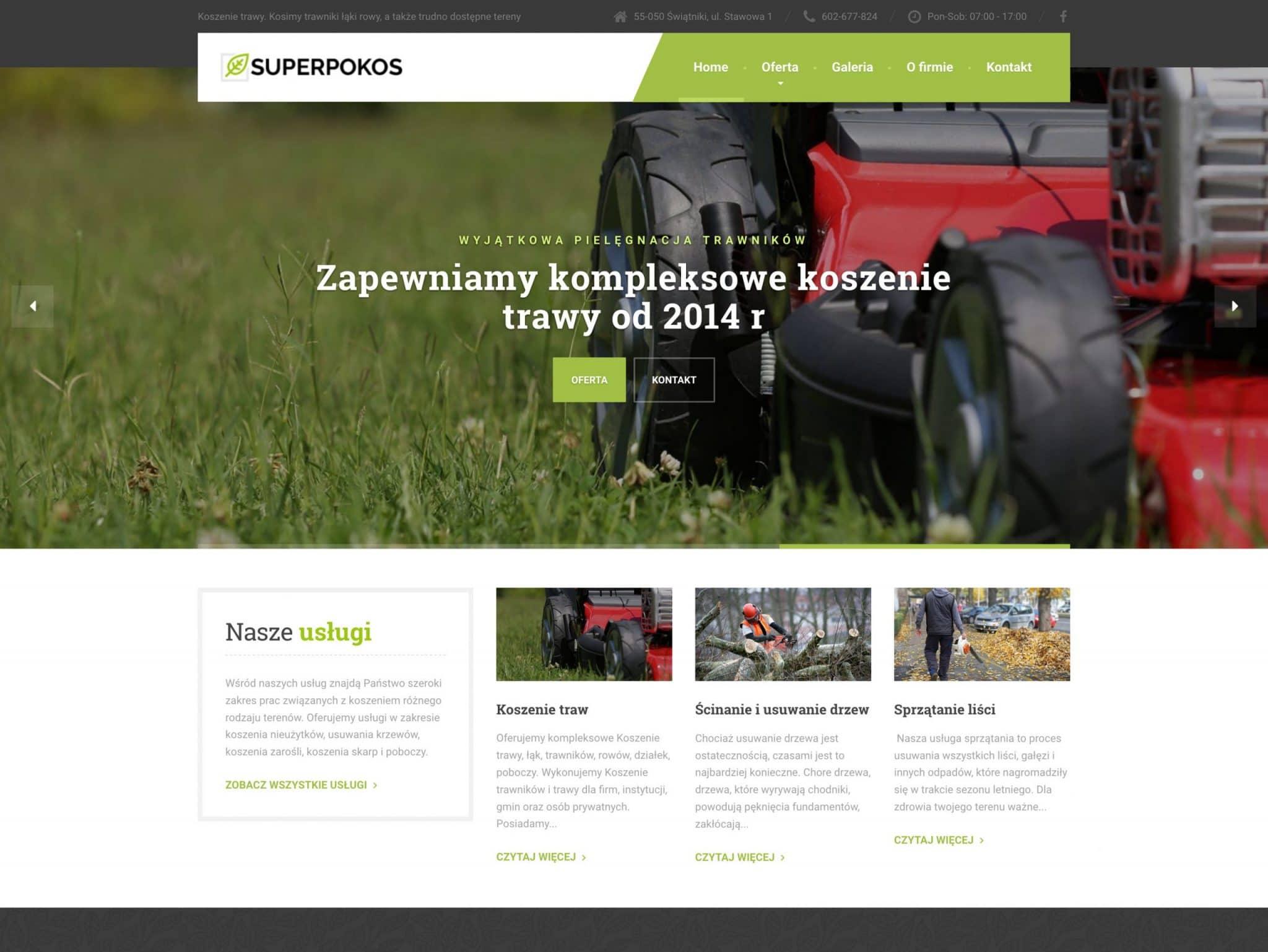 projekt strony internetowej superpokos.pl
