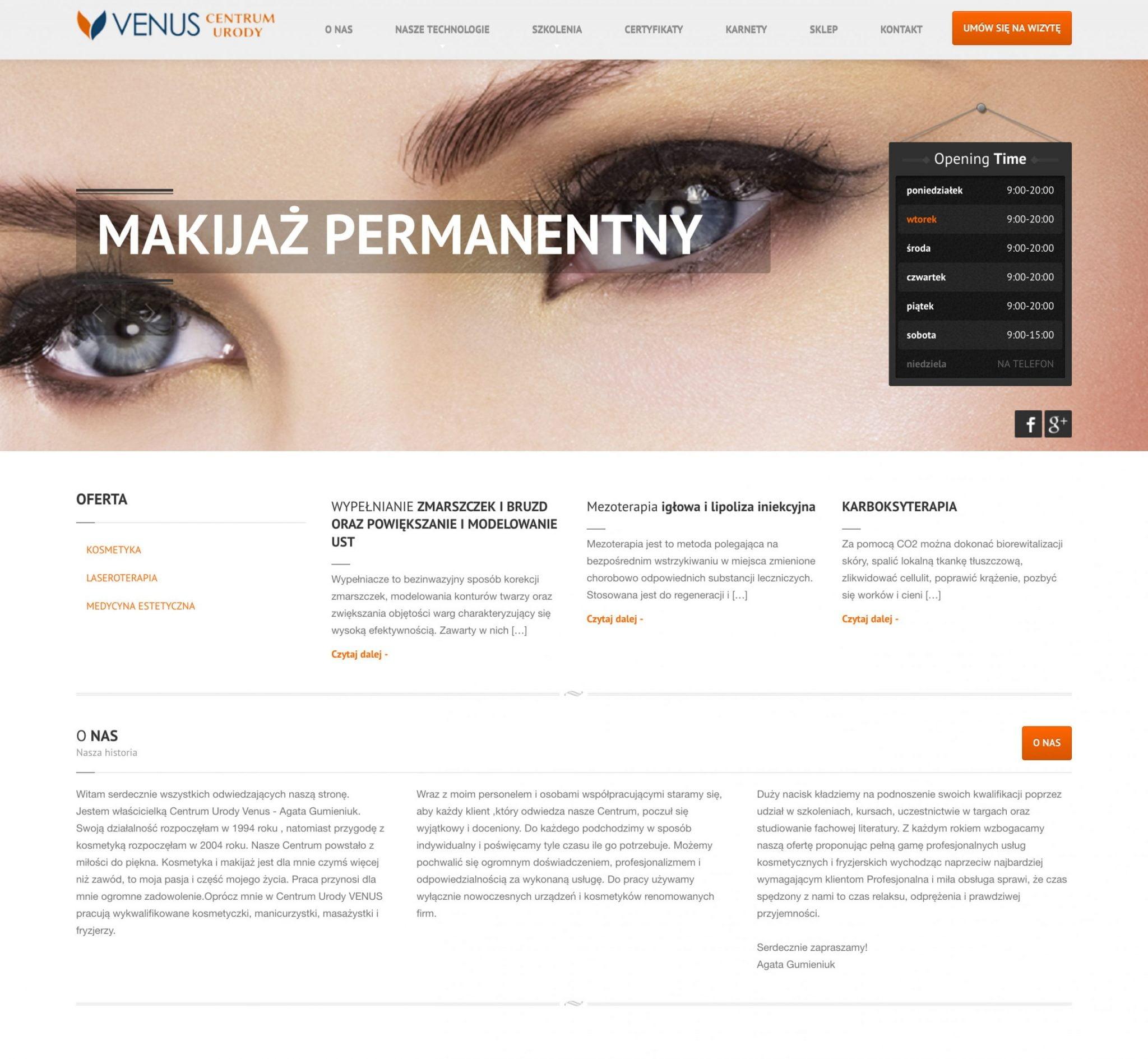 projekt strony intenetowej venuscentrumurody.pl
